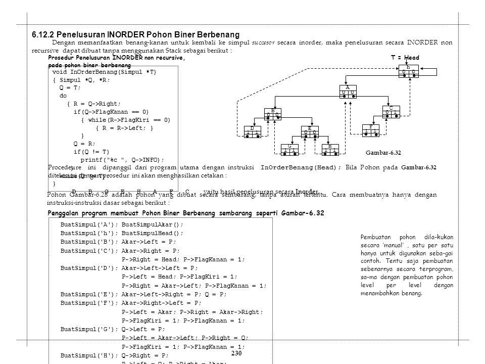 Dengan memanfaatkan benang-kanan untuk kembali ke simpul succesor secara inorder, maka penelusuran secara INORDER non recursive dapat dibuat tanpa men