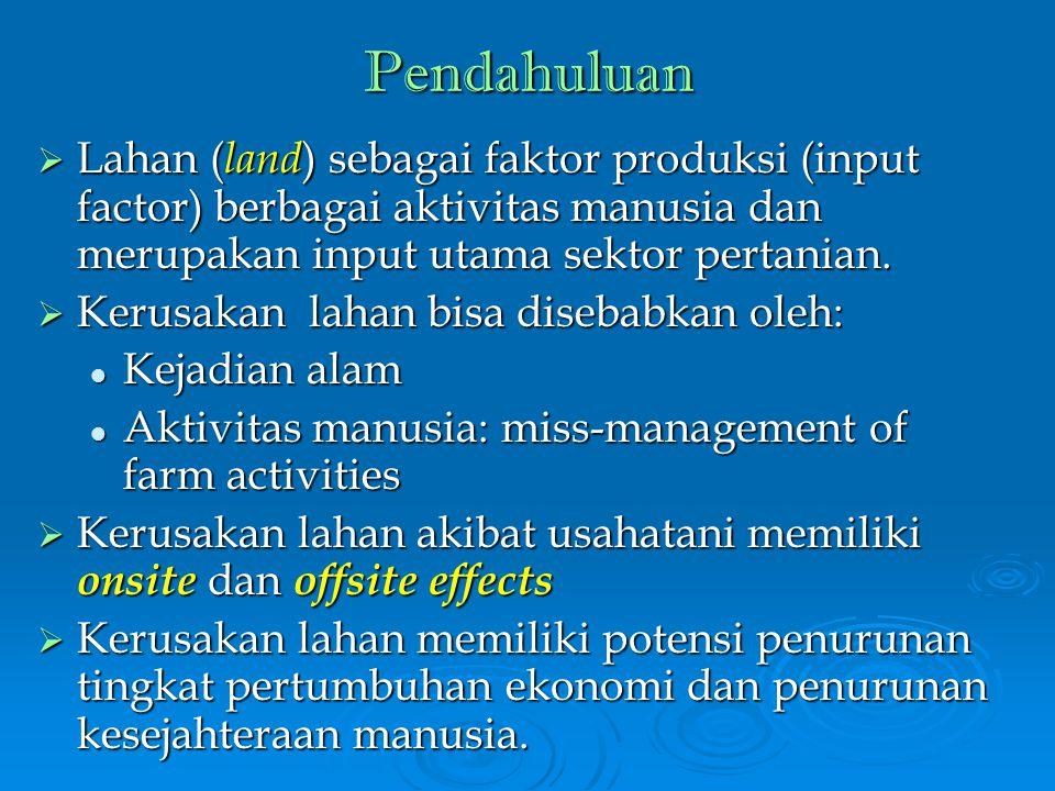 Pendahuluan  Lahan ( land ) sebagai faktor produksi (input factor) berbagai aktivitas manusia dan merupakan input utama sektor pertanian.