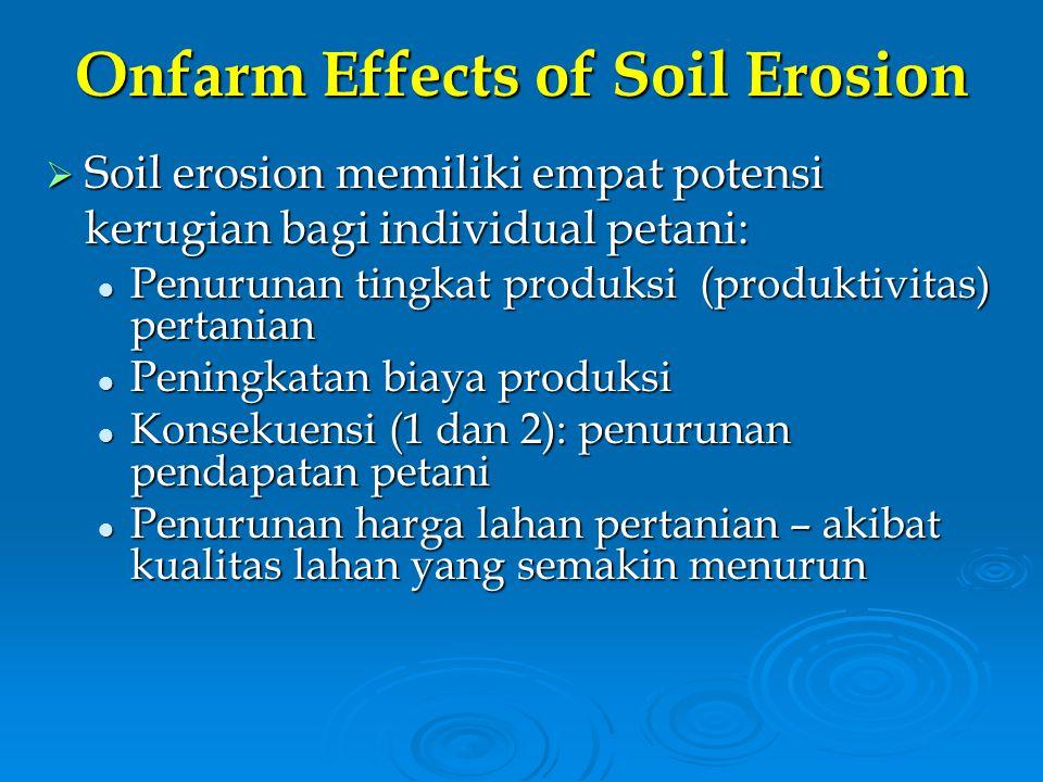 Onfarm Effects of Soil Erosion  Soil erosion memiliki empat potensi kerugian bagi individual petani: Penurunan tingkat produksi (produktivitas) perta