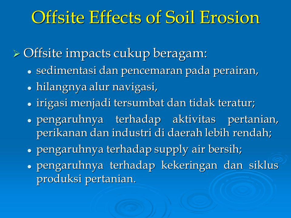 Offsite Effects of Soil Erosion  Offsite impacts cukup beragam: sedimentasi dan pencemaran pada perairan, sedimentasi dan pencemaran pada perairan, h