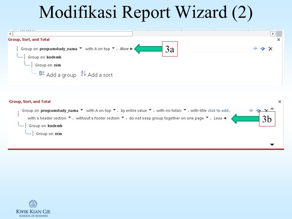 Modifikasi Report Wizard (1) 1a1b 2a 2b