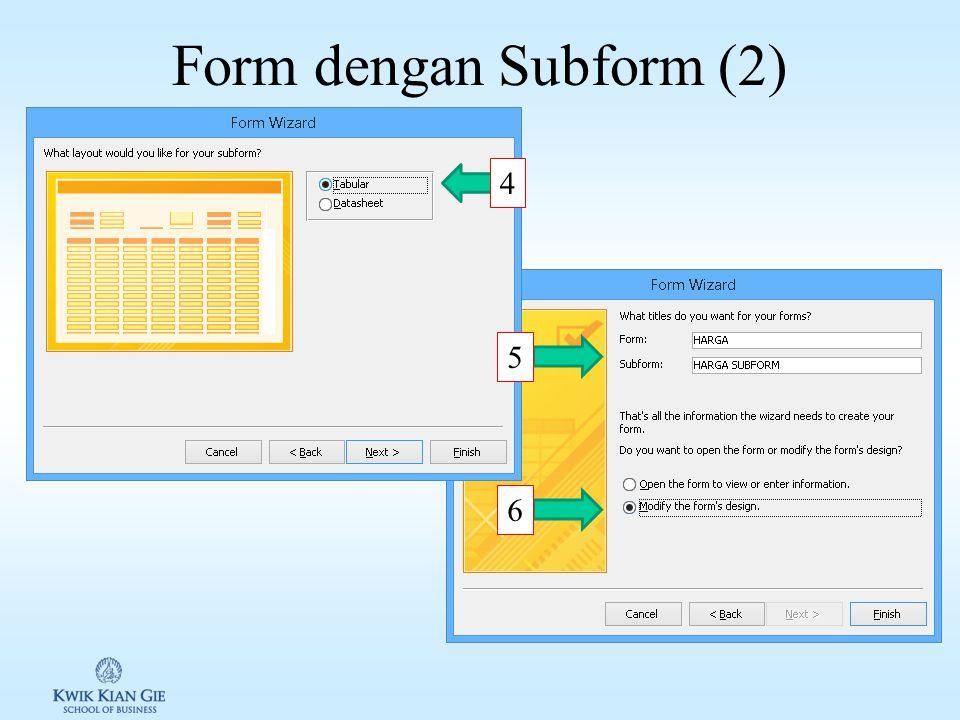 Form dengan Subform (1) 1 2 3