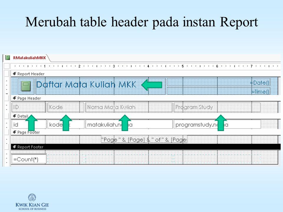 Design View instan Report Bagian ini hanya dicetak 1 kali, di awal report. Biasanya berisi logo, judul, / tanggal. Sum pada header akan menghitung tot