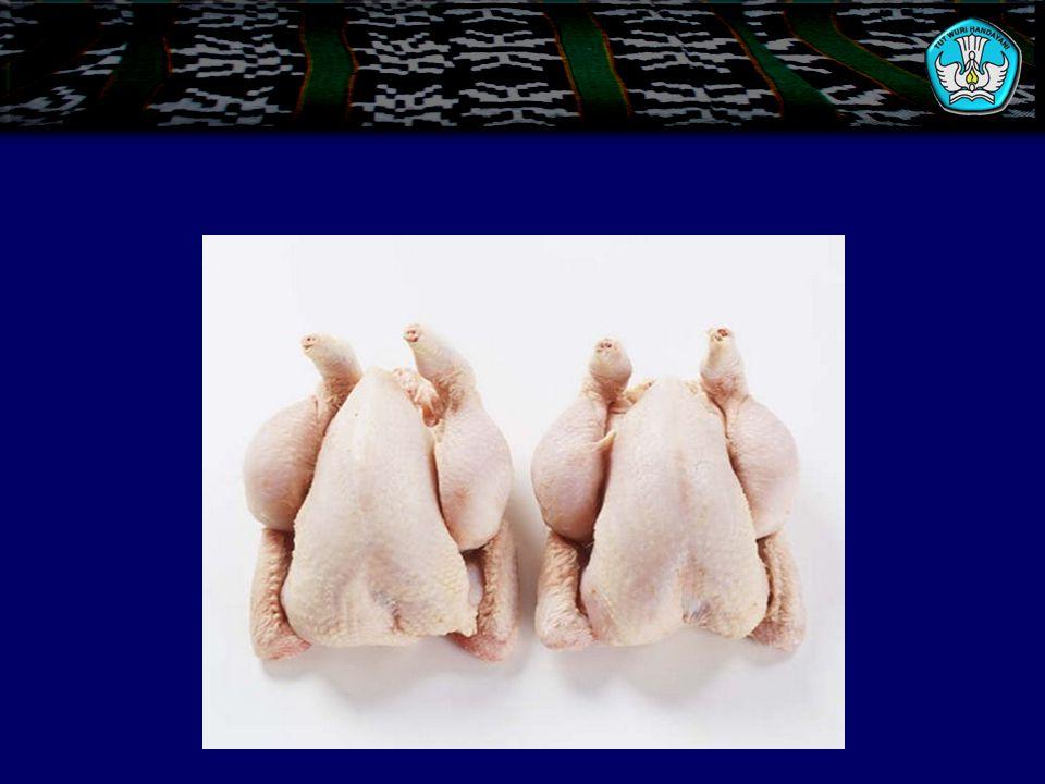 B. Klasifikasi Unggas 1.Ayam a. Poussen, ayam yang berumur 4–6 minggu, digunakan untuk roasting dan grilling. b. Pouted rein, jenis broiler yang dagin