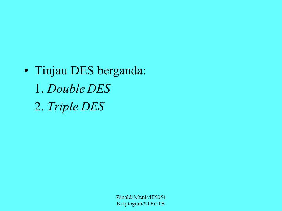 Rinaldi Munir/IF5054 Kriptografi/STEi ITB Tinjau DES berganda: 1. Double DES 2. Triple DES