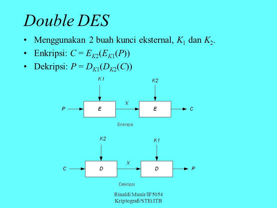 Rinaldi Munir/IF5054 Kriptografi/STEi ITB Double DES Menggunakan 2 buah kunci eksternal, K 1 dan K 2.