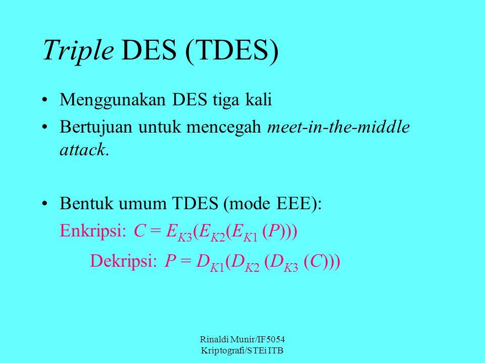 Rinaldi Munir/IF5054 Kriptografi/STEi ITB Menggunakan DES tiga kali Bertujuan untuk mencegah meet-in-the-middle attack.