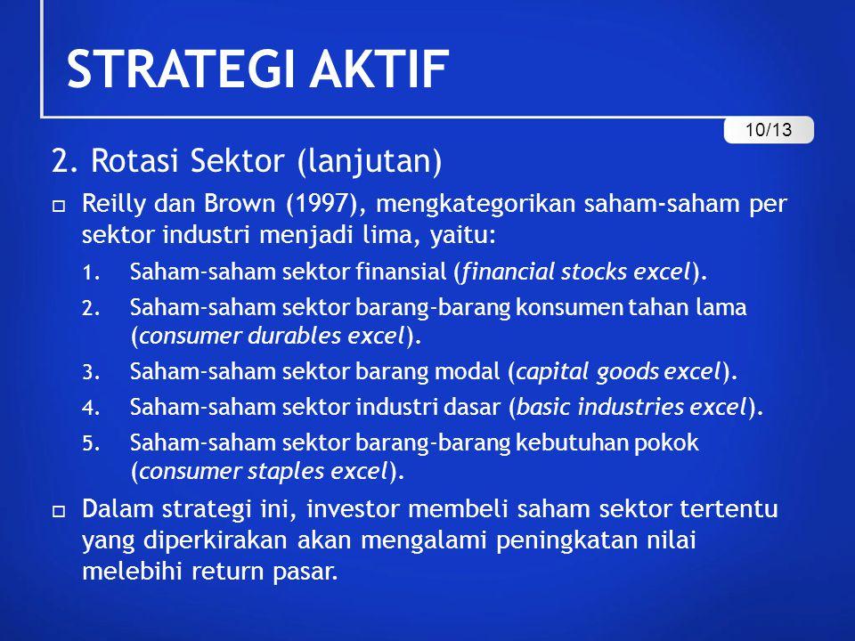 STRATEGI AKTIF 2. Rotasi Sektor (lanjutan)  Reilly dan Brown (1997), mengkategorikan saham-saham per sektor industri menjadi lima, yaitu: 1. Saham-sa