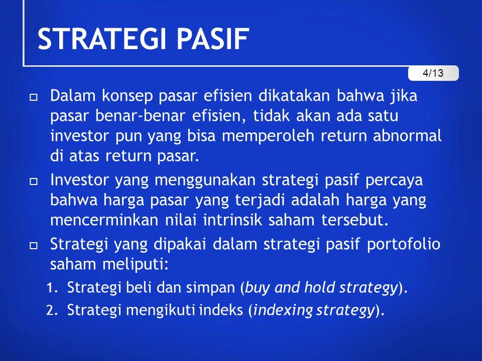 STRATEGI PASIF 1.Strategi Beli dan Simpan Dalam strategi ini investor membeli sejumlah saham dan tetap memegangnya untuk beberapa waktu tertentu.