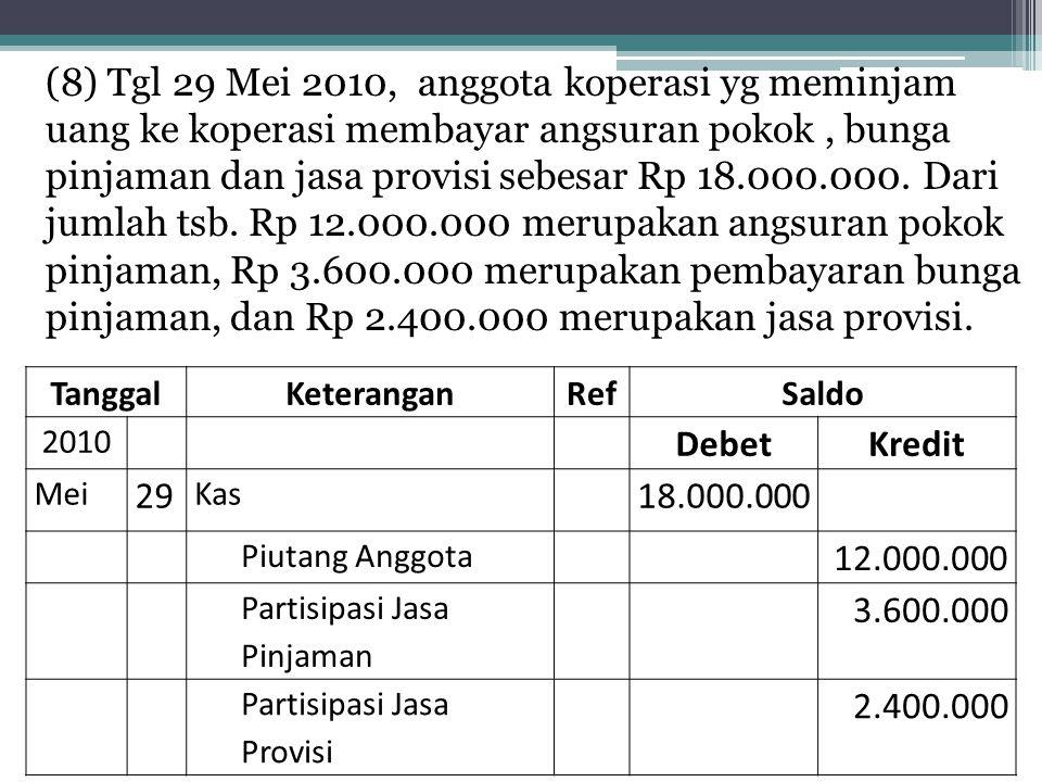 (8) Tgl 29 Mei 2010, anggota koperasi yg meminjam uang ke koperasi membayar angsuran pokok, bunga pinjaman dan jasa provisi sebesar Rp 18.000.000. Dar