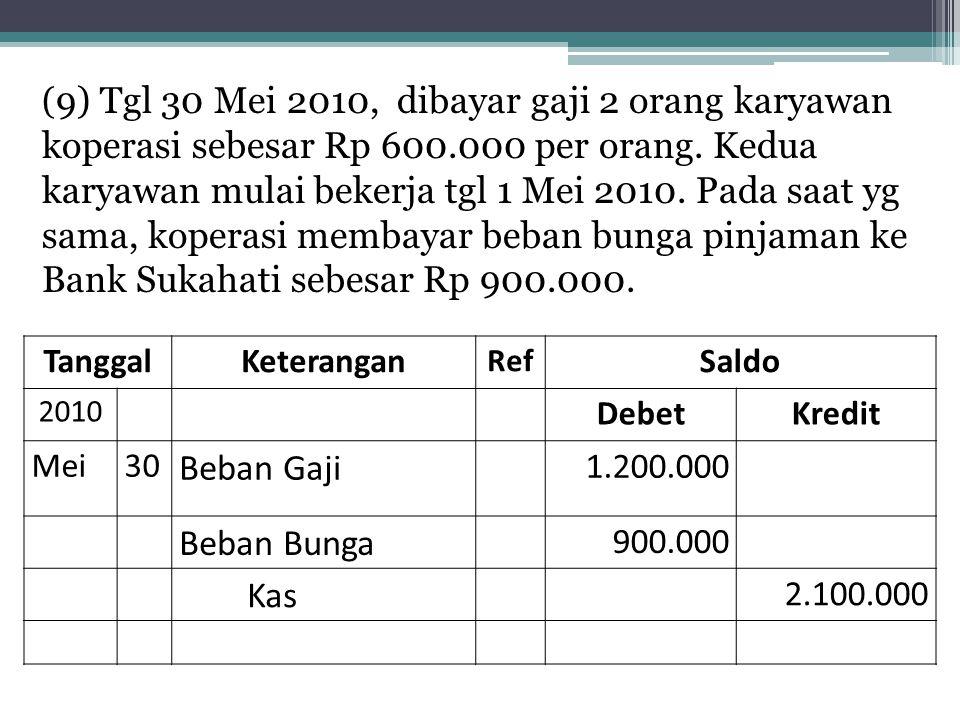( 9) Tgl 30 Mei 2010, dibayar gaji 2 orang karyawan koperasi sebesar Rp 600.000 per orang. Kedua karyawan mulai bekerja tgl 1 Mei 2010. Pada saat yg s