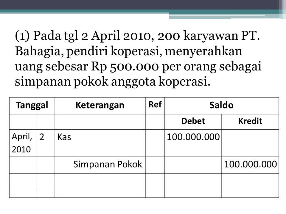 (1) Pada tgl 2 April 2010, 200 karyawan PT. Bahagia, pendiri koperasi, menyerahkan uang sebesar Rp 500.000 per orang sebagai simpanan pokok anggota ko