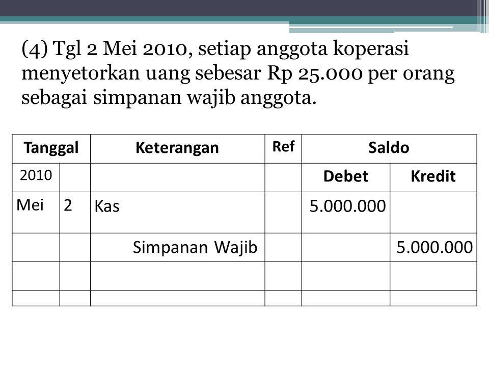 (4) Tgl 2 Mei 2010, setiap anggota koperasi menyetorkan uang sebesar Rp 25.000 per orang sebagai simpanan wajib anggota. TanggalKeterangan Ref Saldo 2