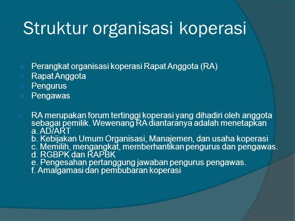 Struktur organisasi koperasi  Perangkat organisasi koperasi Rapat Anggota (RA)  Rapat Anggota  Pengurus  Pengawas  RA merupakan forum tertinggi k