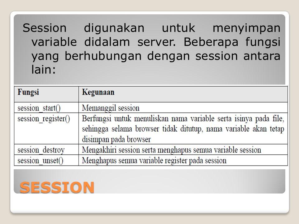 SESSION Session digunakan untuk menyimpan variable didalam server. Beberapa fungsi yang berhubungan dengan session antara lain: