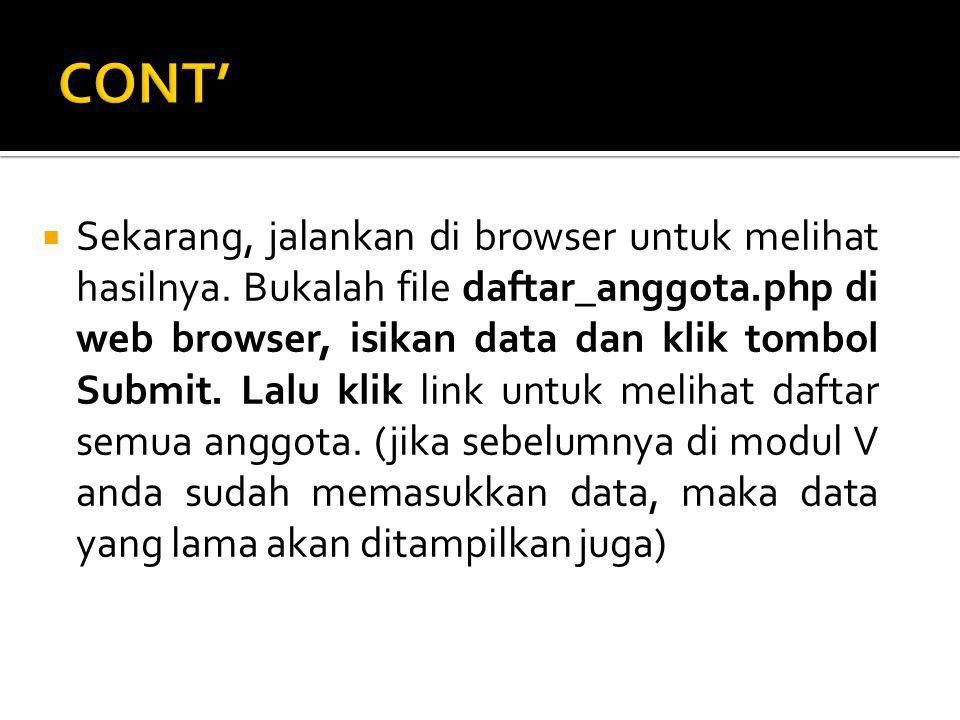  Sekarang, jalankan di browser untuk melihat hasilnya.
