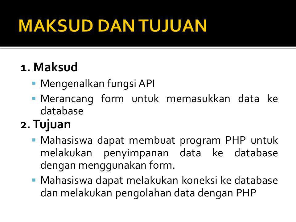 1.Maksud  Mengenalkan fungsi API  Merancang form untuk memasukkan data ke database 2.