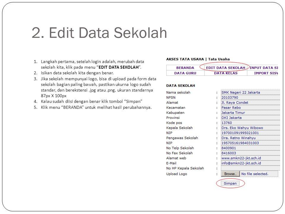 """2. Edit Data Sekolah 1.Langkah pertama, setelah login adalah, merubah data sekolah kita, klik pada menu """"EDIT DATA SEKOLAH"""". 2.Isikan data sekolah kit"""