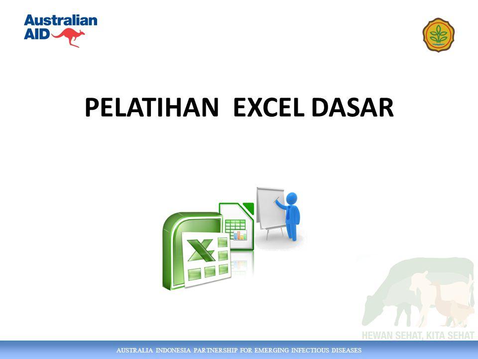 AUSTRALIA INDONESIA PARTNERSHIP FOR EMERGING INFECTIOUS DISEASES Tujuan Pelatihan Membekali peserta dengan keterampilan dan pemahaman yang diperlukan untuk memanipulasi / mengolah data secara efektif dan melakukan analisis dasar Excel