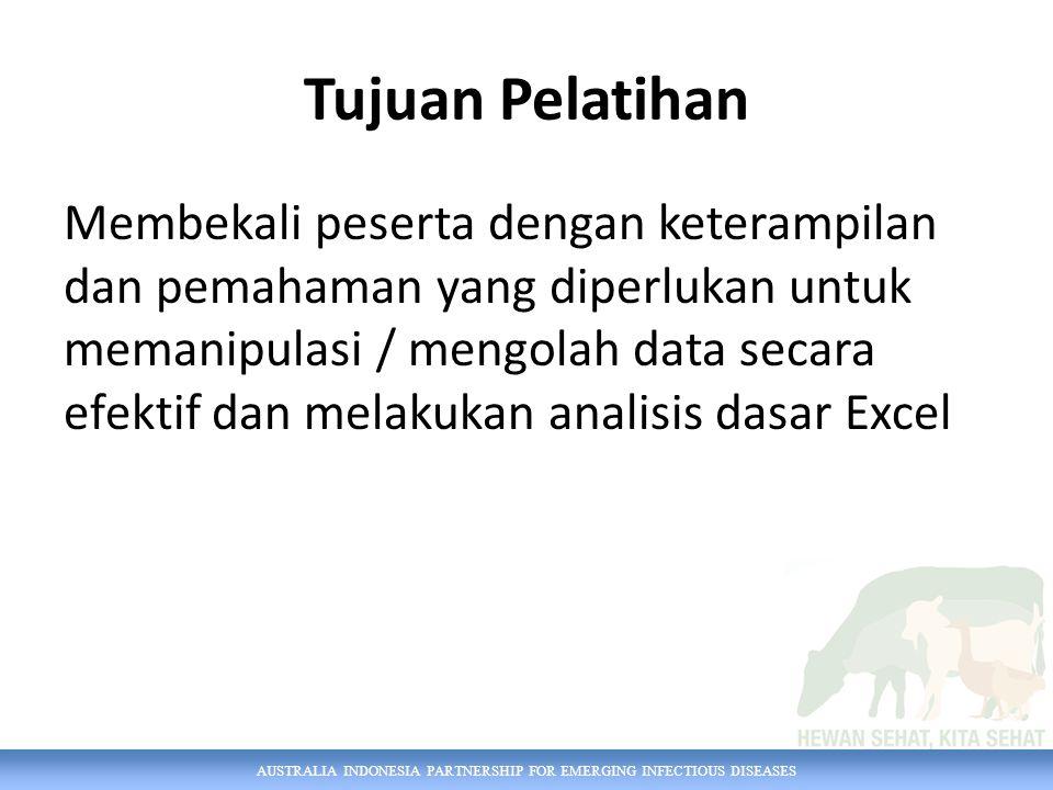AUSTRALIA INDONESIA PARTNERSHIP FOR EMERGING INFECTIOUS DISEASES Excel Dasar Section 1 Prinsip pengelolaan data Section 2 Keterampilan Excel dasar Section 3 Merapikan Data Section 4 Menyiapkan Keluaran/ Output