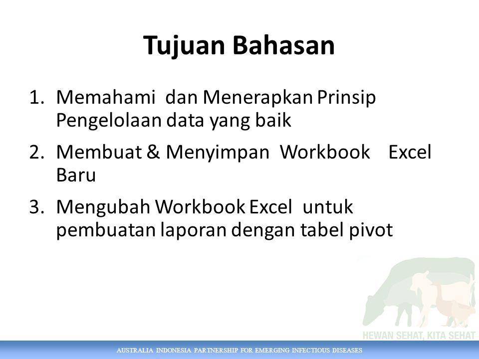 AUSTRALIA INDONESIA PARTNERSHIP FOR EMERGING INFECTIOUS DISEASES Memasukkan data ke dalam sel dengan cara mengetik