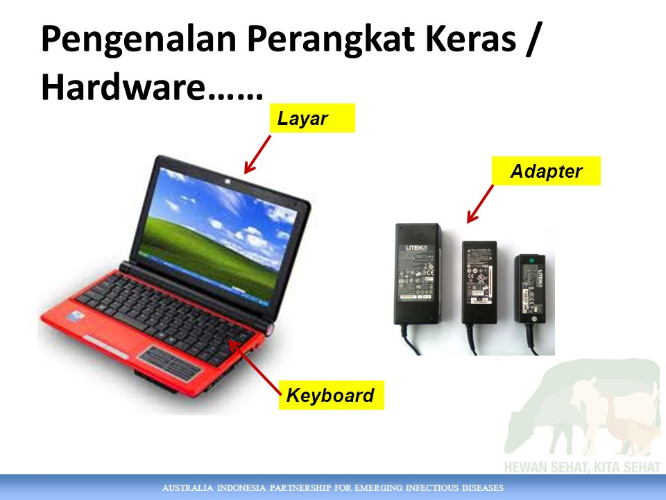 AUSTRALIA INDONESIA PARTNERSHIP FOR EMERGING INFECTIOUS DISEASES Pengenalan Perangkat Keras / Hardware…… Layar Keyboard Adapter