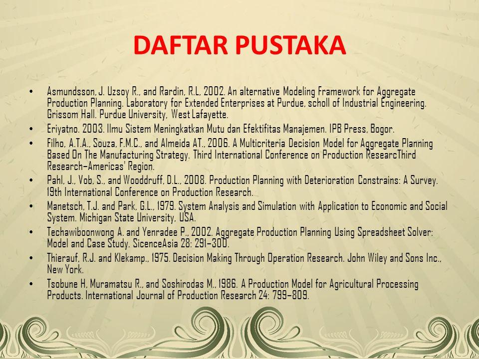 DAFTAR PUSTAKA Asmundsson, J.Uzsoy R., and Rardin, R.L, 2002.