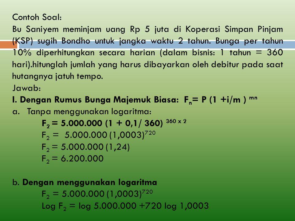 Contoh Soal: Bu Saniyem meminjam uang Rp 5 juta di Koperasi Simpan Pinjam (KSP) sugih Bondho untuk jangka waktu 2 tahun.
