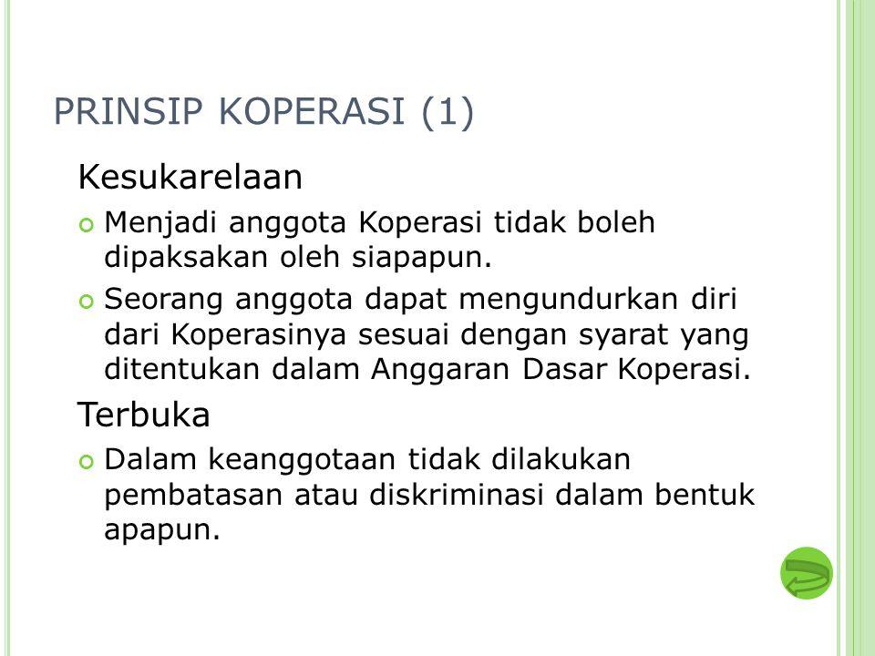 PRINSIP KOPERASI (1) Kesukarelaan Menjadi anggota Koperasi tidak boleh dipaksakan oleh siapapun. Seorang anggota dapat mengundurkan diri dari Koperasi
