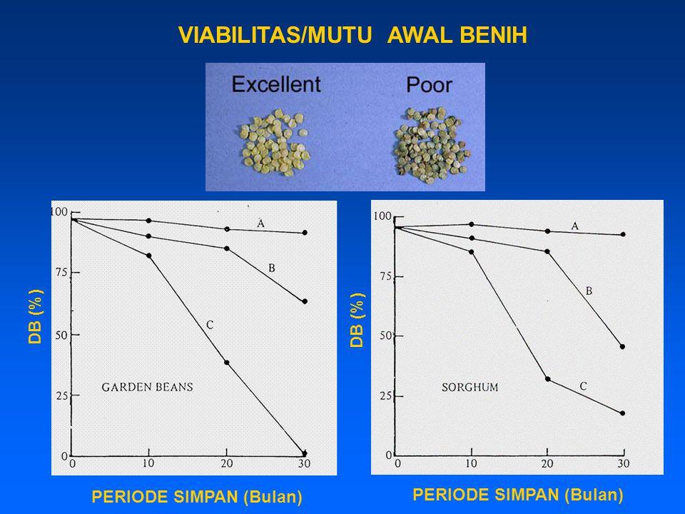 VIABILITAS/MUTU AWAL BENIH DB (%) PERIODE SIMPAN (Bulan)