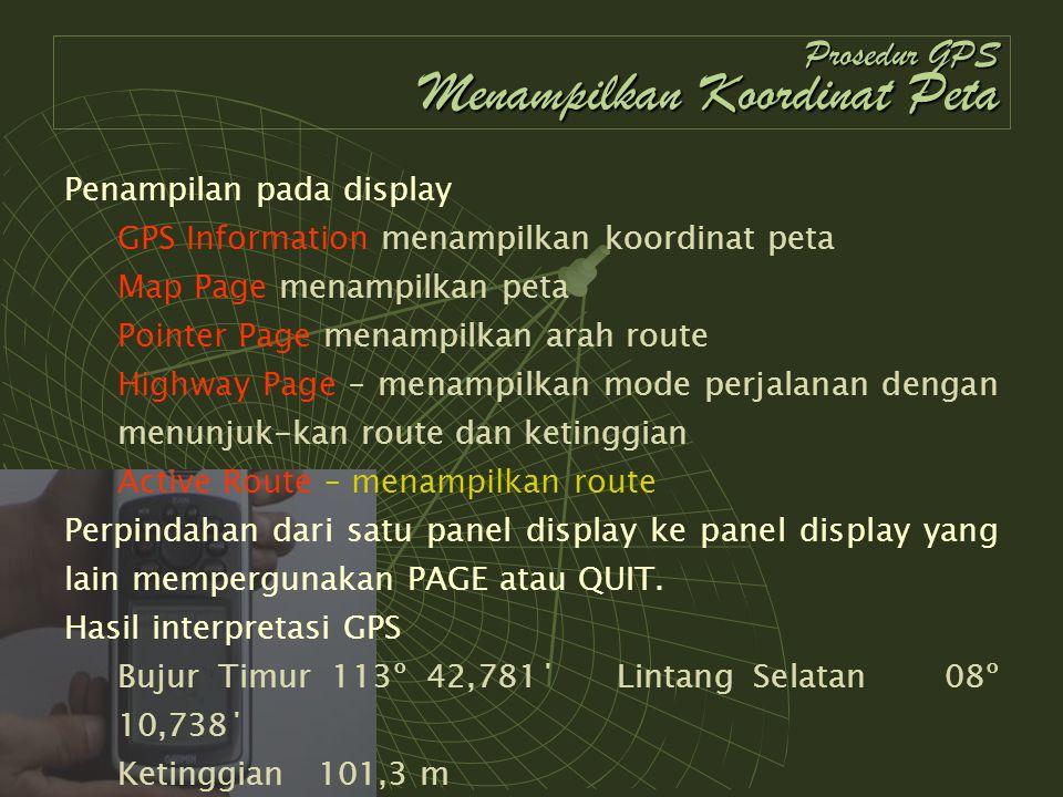 Prosedur GPS Menampilkan Koordinat Peta Penampilan pada display GPS Information menampilkan koordinat peta Map Page menampilkan peta Pointer Page mena