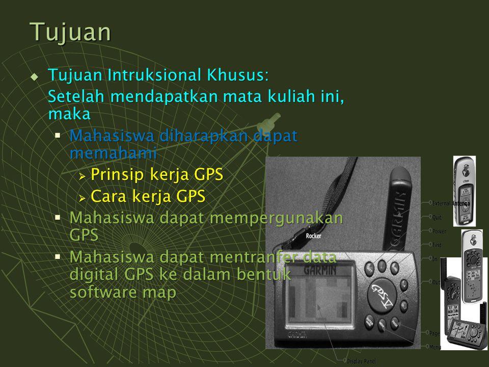 Satelit GPS  GPS mempergunakan 24 satelit yang berada pada ketinggian 12.000 mil dpl.
