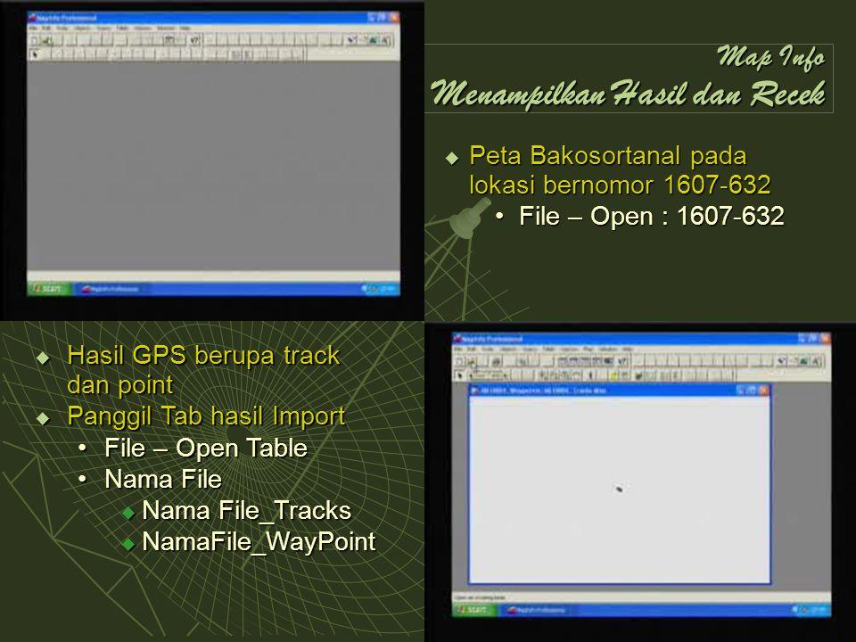 Map Info Menampilkan Hasil dan Recek  Peta Bakosortanal pada lokasi bernomor 1607-632 File – Open : 1607-632File – Open : 1607-632  Hasil GPS berupa