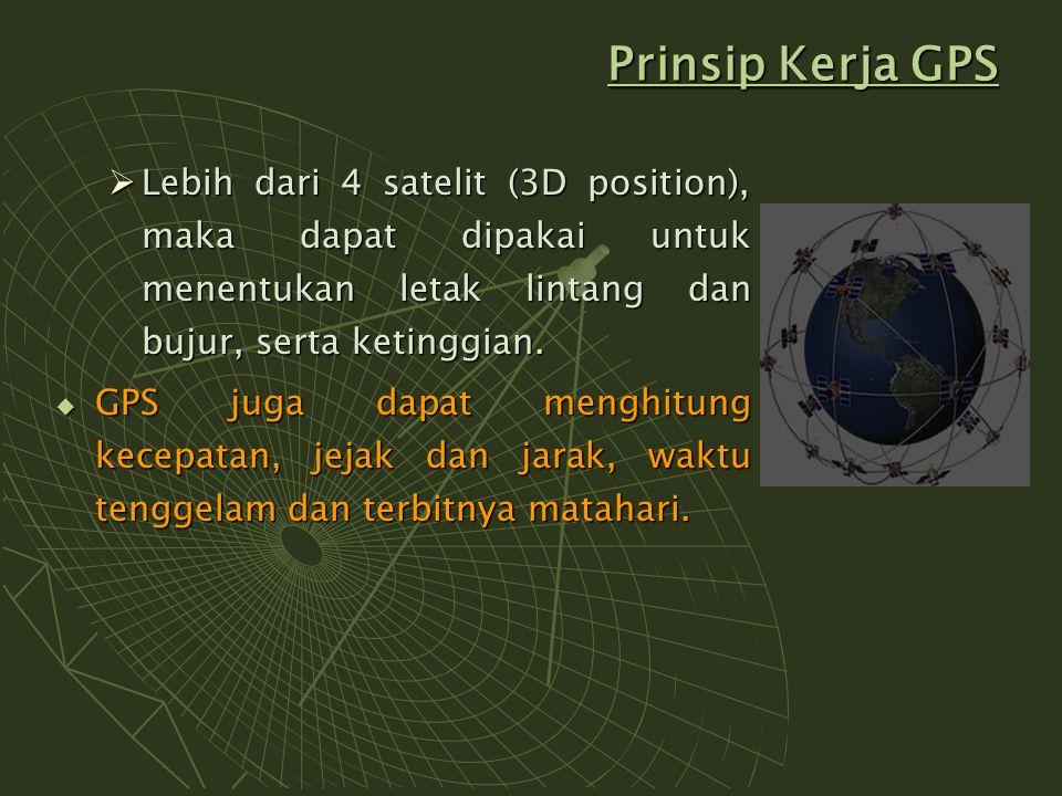 Prinsip Kerja GPS  Lebih dari 4 satelit (3D position), maka dapat dipakai untuk menentukan letak lintang dan bujur, serta ketinggian.  GPS juga dapa