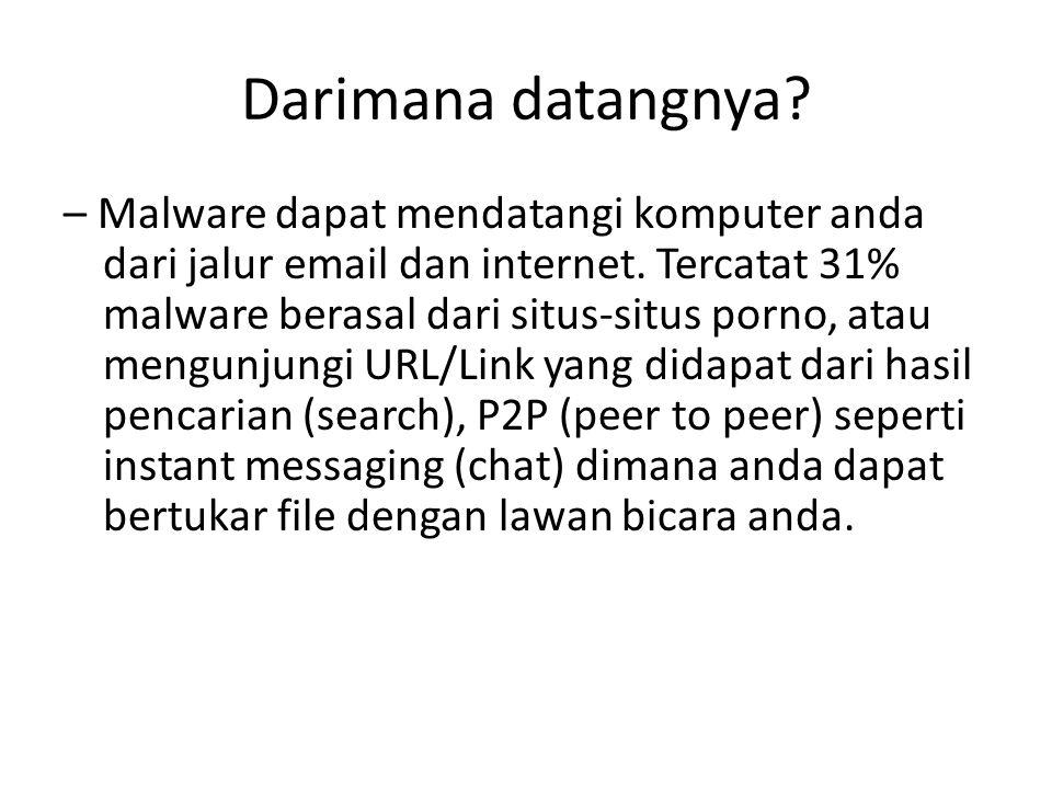 Darimana datangnya.– Malware dapat mendatangi komputer anda dari jalur email dan internet.