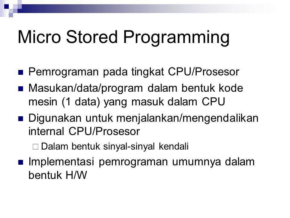 Micro Stored Programming Pemrograman pada tingkat CPU/Prosesor Masukan/data/program dalam bentuk kode mesin (1 data) yang masuk dalam CPU Digunakan un