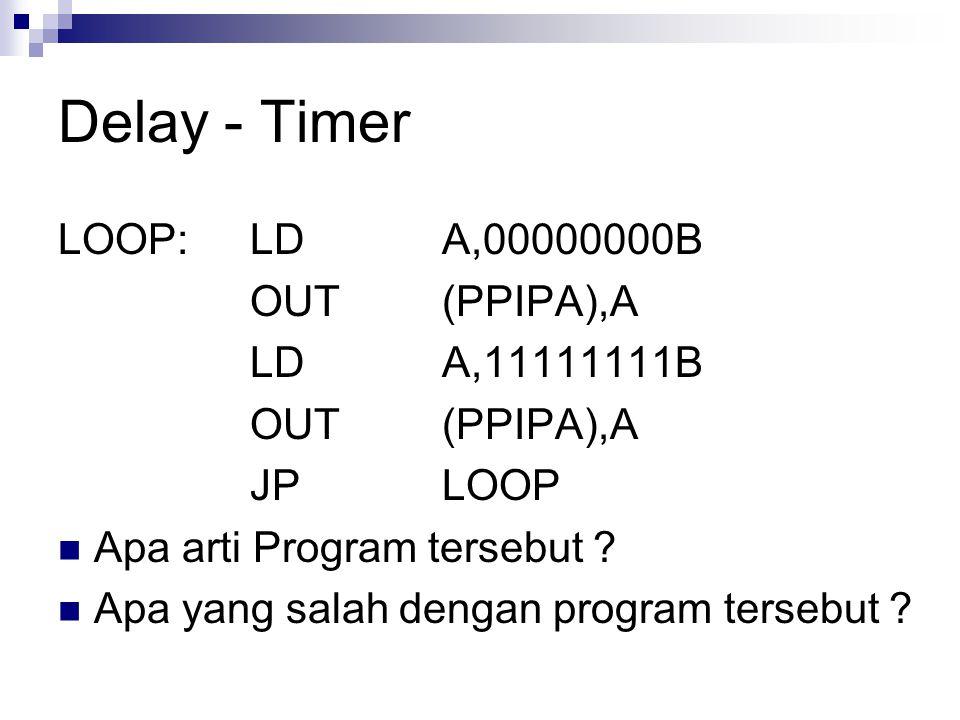 Delay - Timer LOOP:LDA,00000000B OUT(PPIPA),A LDA,11111111B OUT(PPIPA),A JPLOOP Apa arti Program tersebut ? Apa yang salah dengan program tersebut ?