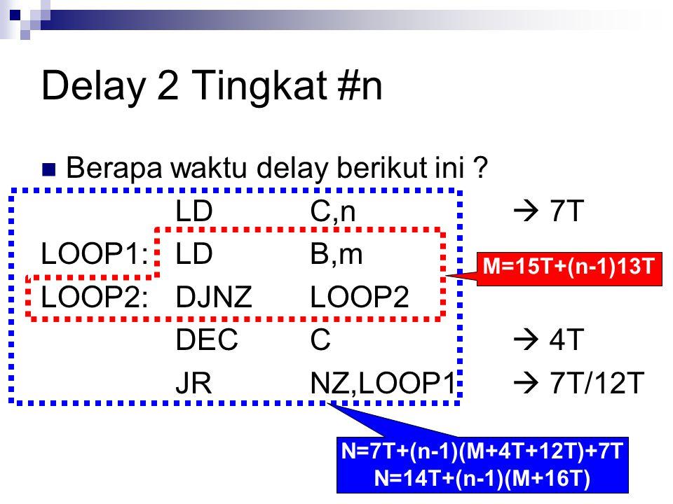 Delay 2 Tingkat #n Berapa waktu delay berikut ini ? LDC,n  7T LOOP1:LDB,m LOOP2:DJNZLOOP2 DECC  4T JRNZ,LOOP1  7T/12T M=15T+(n-1)13T N=7T+(n-1)(M+4