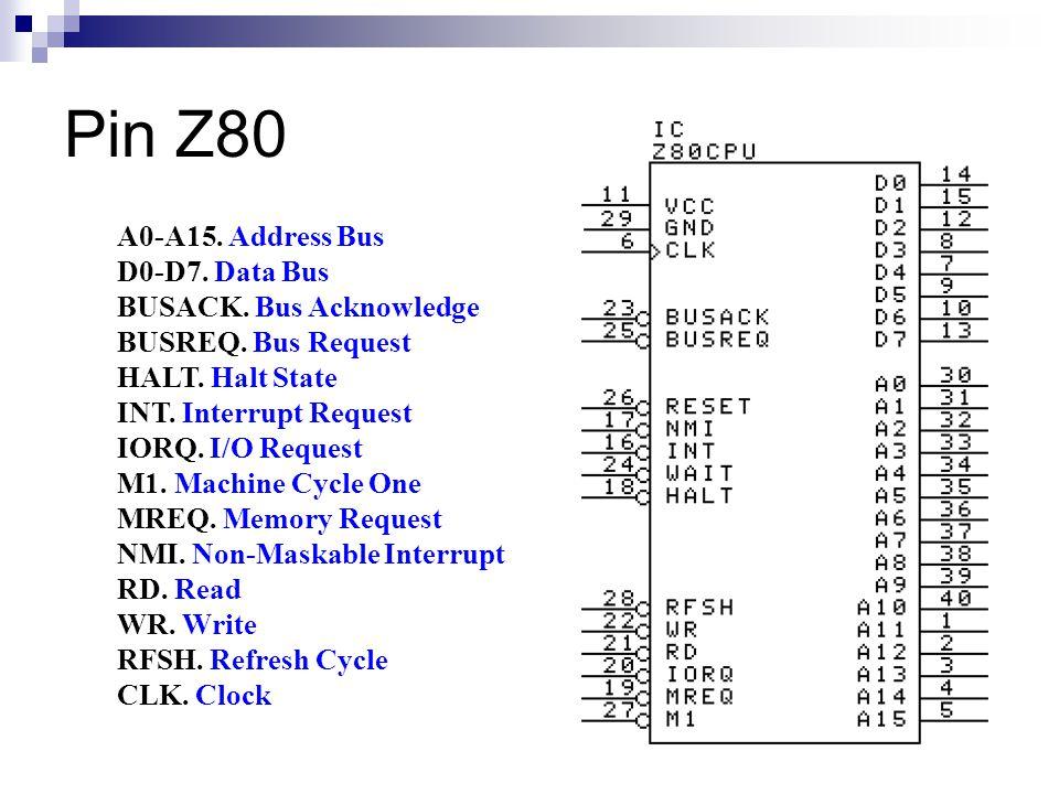 Pin Z80 A0-A15. Address Bus D0-D7. Data Bus BUSACK. Bus Acknowledge BUSREQ. Bus Request HALT. Halt State INT. Interrupt Request IORQ. I/O Request M1.