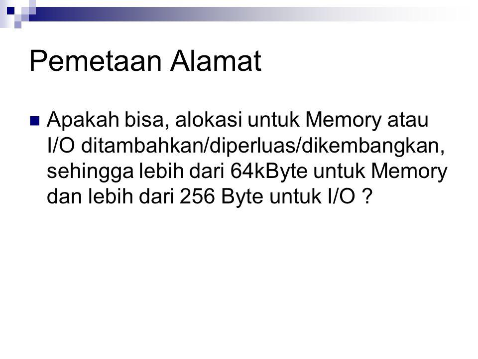 Pemetaan Alamat Apakah bisa, alokasi untuk Memory atau I/O ditambahkan/diperluas/dikembangkan, sehingga lebih dari 64kByte untuk Memory dan lebih dari