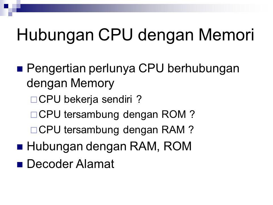 Hubungan CPU dengan Memori Pengertian perlunya CPU berhubungan dengan Memory  CPU bekerja sendiri ?  CPU tersambung dengan ROM ?  CPU tersambung de