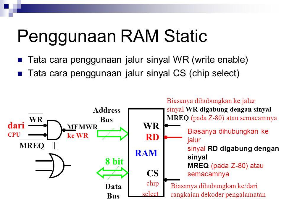 Address Bus Data Bus RAM 8 bit Biasanya dihubungkan ke jalur sinyal WR digabung dengan sinyal MREQ (pada Z-80) atau semacamnya Biasanya dihubungkan ke