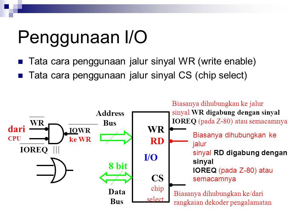 Address Bus Data Bus I/O 8 bit Biasanya dihubungkan ke jalur sinyal WR digabung dengan sinyal IOREQ (pada Z-80) atau semacamnya Biasanya dihubungkan k