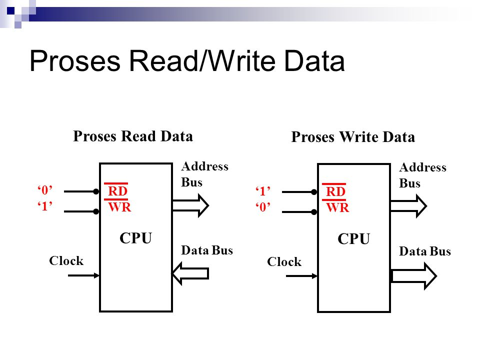 Proses Read/Write Data CPU Address Bus Data Bus Clock RD WR '0' '1' Proses Read Data CPU Address Bus Data Bus Clock RD WR '1' '0' Proses Write Data