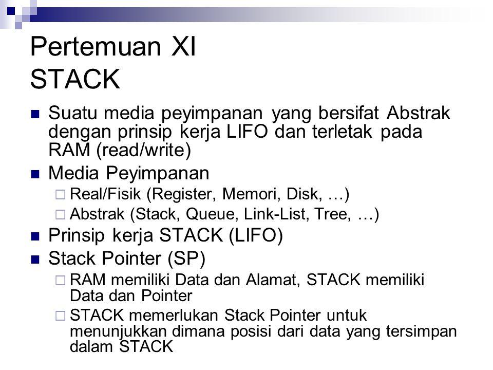 Pertemuan XI STACK Suatu media peyimpanan yang bersifat Abstrak dengan prinsip kerja LIFO dan terletak pada RAM (read/write) Media Peyimpanan  Real/F