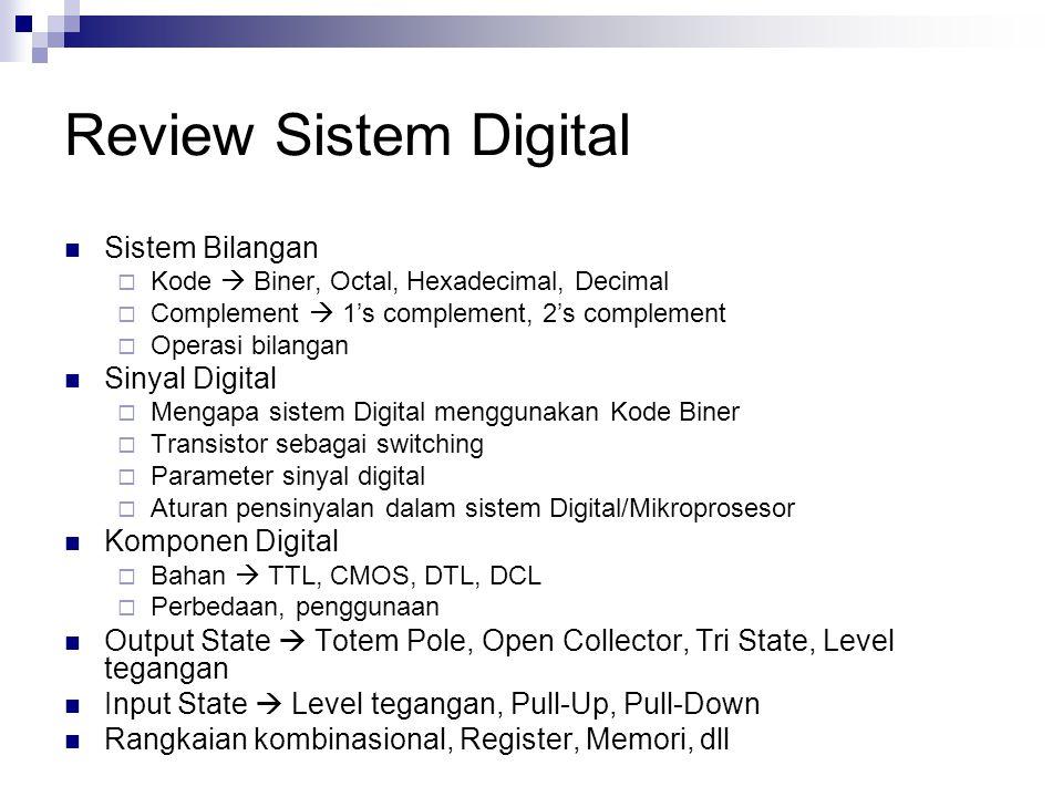 Review Sistem Digital Sistem Bilangan  Kode  Biner, Octal, Hexadecimal, Decimal  Complement  1's complement, 2's complement  Operasi bilangan Sin