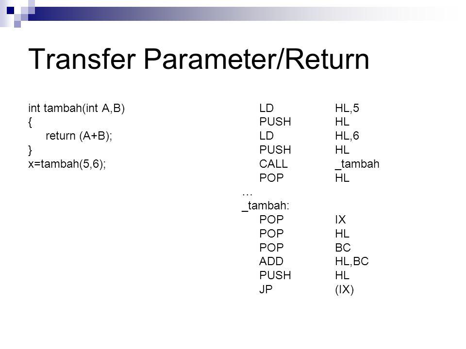 Transfer Parameter/Return int tambah(int A,B) { return (A+B); } x=tambah(5,6); LDHL,5 PUSHHL LDHL,6 PUSHHL CALL_tambah POPHL … _tambah: POPIX POPHL PO
