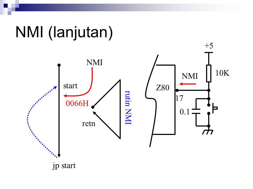NMI (lanjutan) +5 Z80 NMI 10K 0.1 start jp start 0066H retn rutin NMI NMI 17