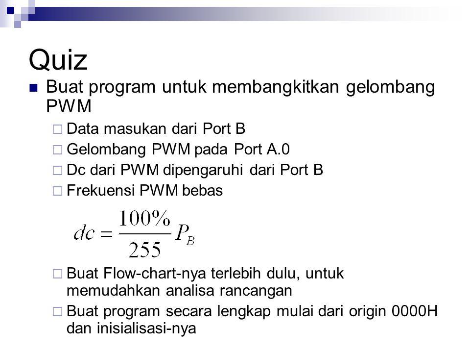Quiz Buat program untuk membangkitkan gelombang PWM  Data masukan dari Port B  Gelombang PWM pada Port A.0  Dc dari PWM dipengaruhi dari Port B  F