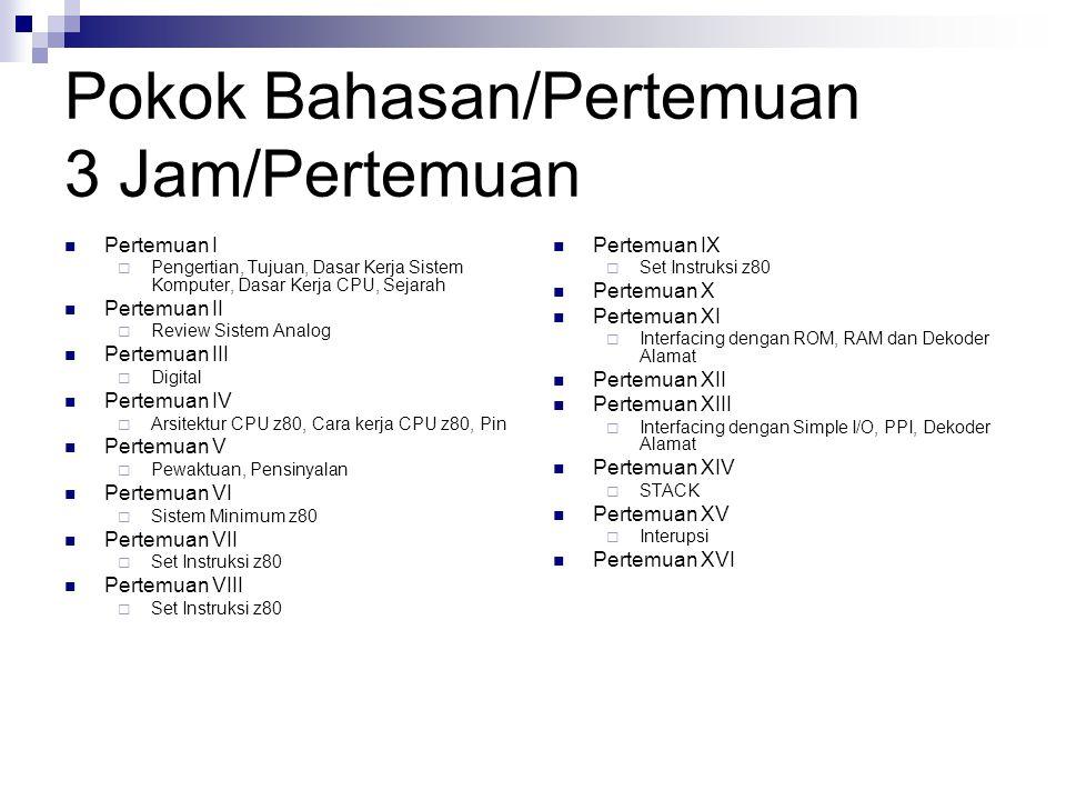 Transfer Parameter/Return int tambah(int A,B) { return (A+B); } x=tambah(5,6); LDHL,5 PUSHHL LDHL,6 PUSHHL CALL_tambah POPHL … _tambah: POPIX POPHL POPBC ADDHL,BC PUSHHL JP(IX)